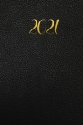 Weekly Planner: Black Leather Print with Gold Lettering 1 Year, 2021 Weekly Planner, Weekly Pages, Calendars, Year Overview, Special D Cover Image
