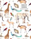2019-2020 Academic Planner: Colorful Zoo Animals Watercolor Print Weekly & Monthly Dated Calendar Organizer with To-Do's, Checklists & Notes, July Cover Image