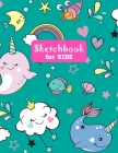 Sketchbook for Kids: Pretty Unicorn Large Sketch Book for Drawing, Writing, Painting, Sketching, Doodling and Activity Book- Birthday and C Cover Image