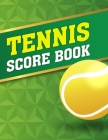 Tennis Score Book: Game Record Keeper for Singles or Doubles Play Yellow Ball with Green and Gold Design Cover Image