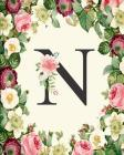 N: Monogrammed Journal Notebooks Gift for Women, Mom, Teacher, Girls and Red, White Floral Cover Cover Image
