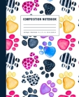 Composition Notebook: Colorful Painted Paw Prints Cover Wide Ruled Cover Image
