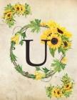 U: Monogram Initial U Notebook for Women and Girls- 8.5