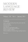 Modern Language Review (116: 1) January 2021 Cover Image