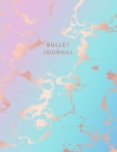 Bullet Journal: Beautiful Blue and Pastel Hue Marble and Rose Gold - 8.5 x 11 - 100 pages - Dot Grid Bullet Journal Notebook, Gift for Cover Image