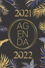 Agenda 2021-2022: Flowers and leaves pattern blue gold black weekly monthly and daily planner for elementary primary middle and high sch Cover Image