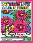Easy Design Adult Color By Number - Jumbo Coloring Book of Large Print Flowers, Birds, and Butterflies Cover Image