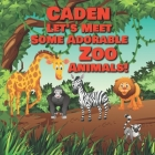 Caden Let's Meet Some Adorable Zoo Animals!: Personalized Baby Books with Your Child's Name in the Story - Zoo Animals Book for Toddlers - Children's Cover Image
