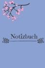 Notizbuch: Notizbuch blau mit rosa Blumen Cover Image
