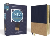 NIV Study Bible, Fully Revised Edition, Leathersoft, Navy/Tan, Red Letter, Comfort Print Cover Image