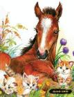 Quad Grid: Horse & Kittens Composition Notebook Graph Ruled Paper, 4x4 Squared for Math & Science Graphing Cover Image