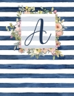 A: Letter A Monogram Initial Notebook - 8.5